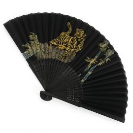 Japanese black fan in polyester and bamboo with tiger pattern, TORA, 22cm