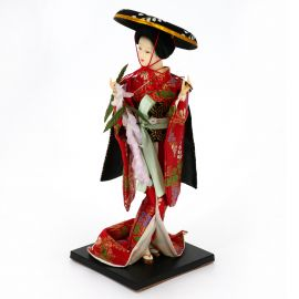Japanese traditional Oyama doll red and black kimono pattern leaves and waves seigaiha, FUJIMUSUME