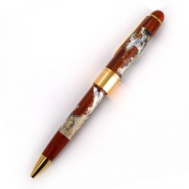 Japanese wooden ballpoint pen in a great wave case, NAMI, 145mm