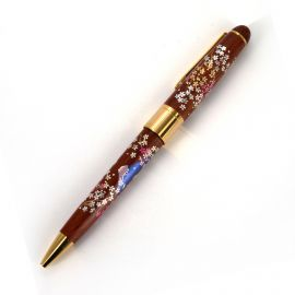 Japanese wooden ballpoint pen in box with mount fuji and cherry blossoms, SAKURAFUJI, 145mm