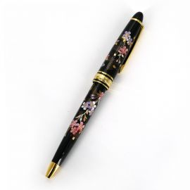 Japanese black resin ballpoint pen in a box with fans and cherry blossoms, SENMENSAKURA, 130mm
