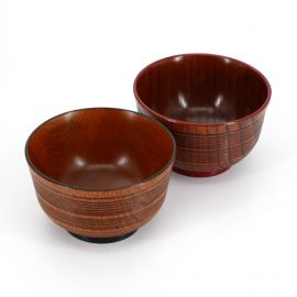 Japanese black and red wooden bowl duo, SUJIIRI, 11.3x7cm