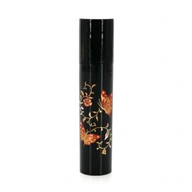 Small black Japanese resin storage tube with butterfly and flower pattern, CHO NO MAI, 1.8x9cm
