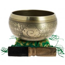 Tibetan bowl with engravings and its handcrafted storage pouch, 12 cm