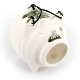 Japanese mosquito repellent holder in the shape of a white and green pig, KATORIBUTA