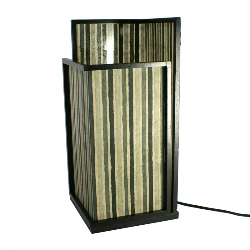 lampe japonaise en bois et papier 4120. Black Bedroom Furniture Sets. Home Design Ideas