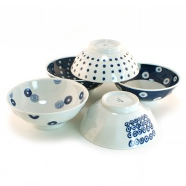 set of 5 Japanese bowls collection indigo 16M1613310
