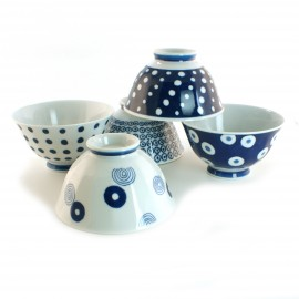 set of 5 Japanese bowls collection indigo 16M1613303