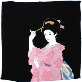 black japanese furoshiki Kanzashi geisha with fan