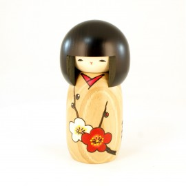 Japanese doll wooden KOKESHI. handmade in Japan - HANAMONOGATARI- UME