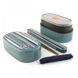 oval japanese bento box - lunch box - light blue