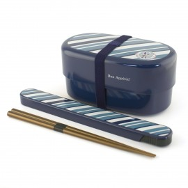 oval japanese bento box - lunch box - blue