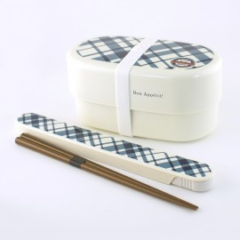 oval japanese bento box - lunch box - white