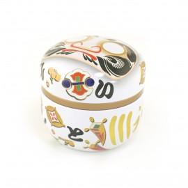 white Japanese blue tea box Daruma