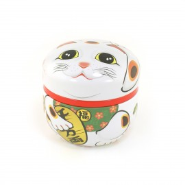 white Japanese blue tea box Manekineko