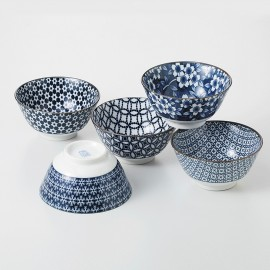 set of 5 japanese ceramic bowls CAW78-56-45