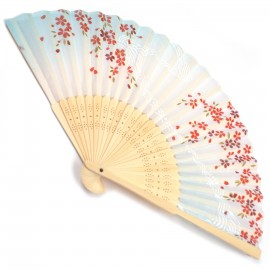 japanese fan - cotton and bamboo - sakura blue white