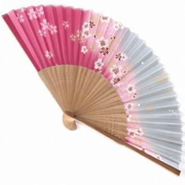 japanese fan - silk and bamboo - sakura pink / grey