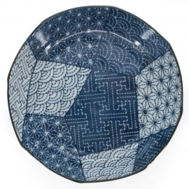 small-sized deep round plate with patterns blue PATCHWORK