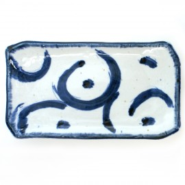 thick curved rectangular plate with blue lines white KARAKUSA