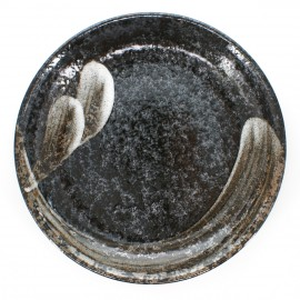 large-sized round plate black ARAHAKE