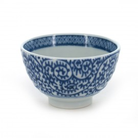 tea cup with blue patterns blue TAKO-KARAKUSA SENCHA