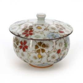 tea cup with lid and flower patterns white RANMAN