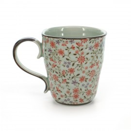 teacup with red flower patterns white SUIÎTO AKA