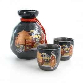 bottle and two sake cups set with bridge and golden pavilion pictures black MAIKO KINKAKUJI