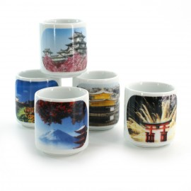 five sake cups set with 5 japan landscapes white FOTO NIHON FÛKEI