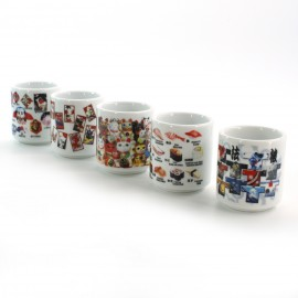 five sake cups set with 5 japan patterns white WAGARA