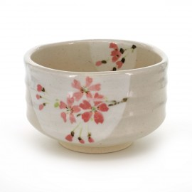 tea bowl with pink flower patterns white SAKURA HANGETSU
