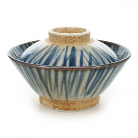 rice bowl with lid and blue lines white TOKUSA