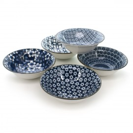 Japanese traditional colour white and blue 5 bowls set with flower patterns in porcelain SHIMITSU