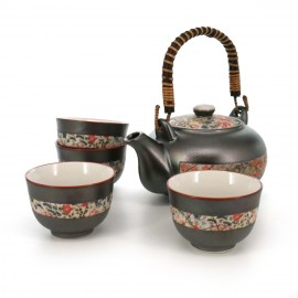 Japanese traditional colour grey teapot and 4 teacups set with flowers patterns in ceramic MUSASHINO