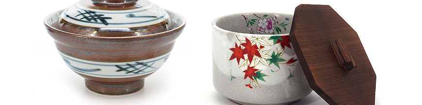 Japanese ceramic soup bowls with lid